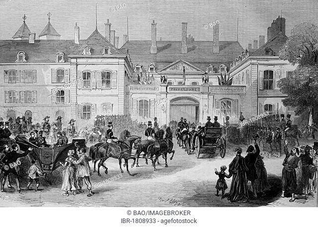 Arrival of Napoleon III and the imperial prince in Metz on July 28th 1870, historic illustration, illustrated war chronicle 1870 to 1871