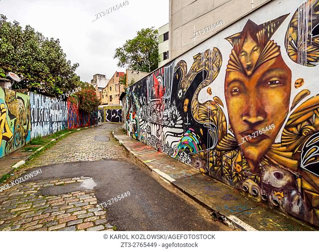 Brazil, State of Sao Paulo, City of Sao Paulo, Vila Madalena, Graffiti in Beco do Batman