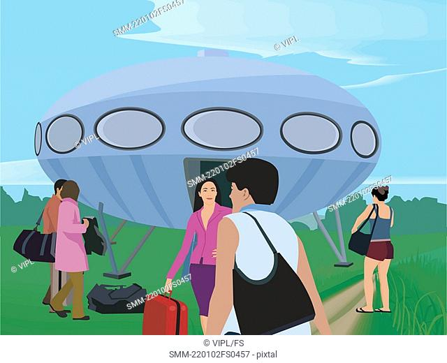 Tourists with their luggage by UFO