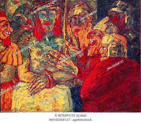 Ü Kunst, Nolde, Emil 7 8 1867 - 15 4  1956, Gemälde Verspottung Christi Privatbesitz, Frankfurt KÜNSTLERRECHTE NICHT BEI INTERFOTO !!! eigentl , Emil Jansen, dt