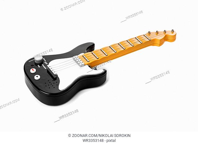 Toy electric guitar isolated on white background