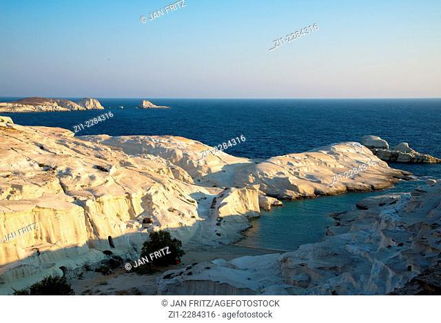 white sandstone beach of Sarakiniko at Milos in Greece