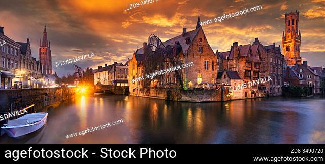 Rozenhoedkaai by night. Bruges. Belgium