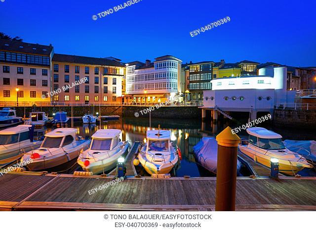 Llanes marina port sunset in Asturias of Spain
