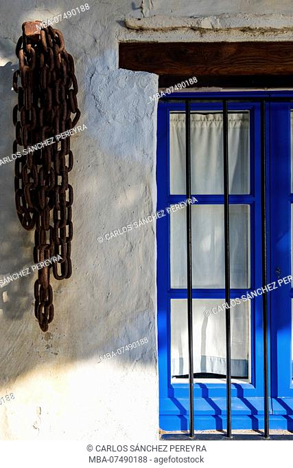 Detail of a mediterranean style house in the village of Portlligat in the nature reserve of Cap de Creus north of the Costa Brava in the province of Gerona in...