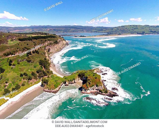 Mapoutahi, Historic Maori Pa Site, Goat Island, Purakanui Bay, north of Dunedin, South Island, New Zealand