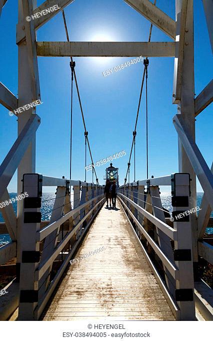 Suspension bridge to Point Bonita lighthouse in Marin, California