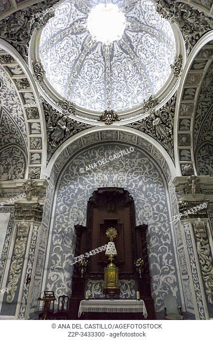 Gothic church interior of Saint Mary. Mora de Rubielos, Aragon, Spain