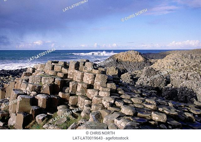 The Giant's Causeway. 40 000 hexagonal,basalt columns formed during the early Tertiary period some 62 - 65 million years ago over a long period of igneous...