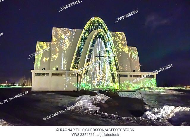 Kopavogur Chuch with a light display, Winter Lights Festival, Iceland
