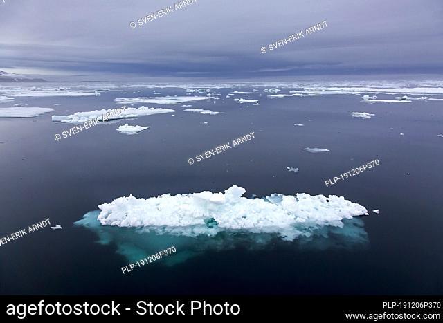 Ice floe in the Hinlopenstretet / Hinlopenstreet / Hinlopen strait between Spitsbergen and Nordaustlandet in Svalbard, Norway