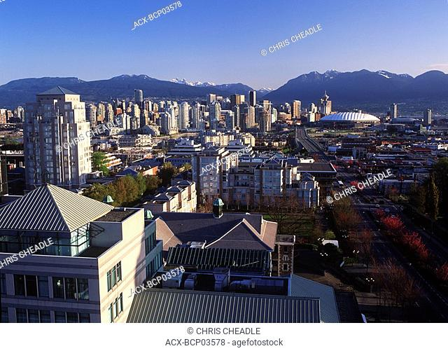 Morning view down Cambie Street towards downtown, Vancouver, British Columbia, Canada