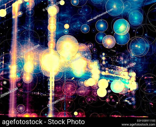 Abstract festive blurred background - computer-generated image. Fractal geometry: randomly placed bubbles. Trendy bokeh backdrop