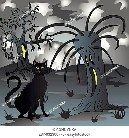 Spooky scenery with cat - vector illustration