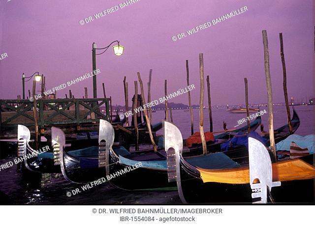 Gondolas at dawn, Venice, Italy, Europe
