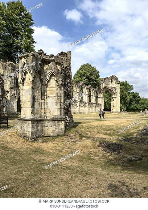 Parched grass at St Marys Abbey Ruins in Museum Gardens during the hot summer of 2018 York Yorkshire England