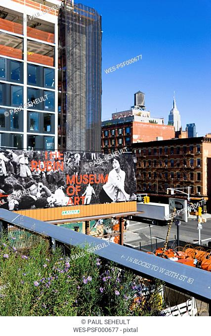 USA, New York, Manhattan, section of the Chelsea Grasslands on the High Line Park on a disused elevated railroad spur