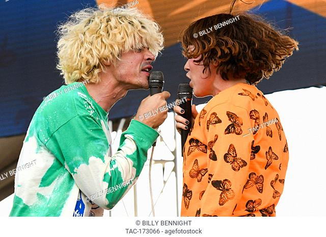 Christian Zucconi of the band Grouplove and Hannah Hooper of the band Grouplove performs at ALT 98.7 Summer Camp at the Queen Mary in Long Beach on August 3