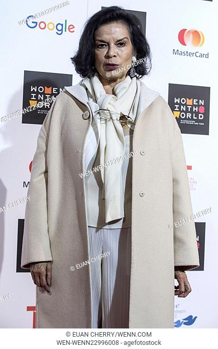 Celebrities attends Women in the World Summit in Sloane Square, London. Featuring: Bianca Jagger Where: London, United Kingdom When: 08 Oct 2015 Credit: Euan...
