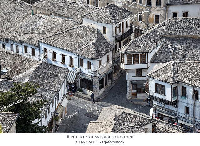 Looking down on the bazaar district of Gjirokastra in southern Albania with its old ottoman influenced houses