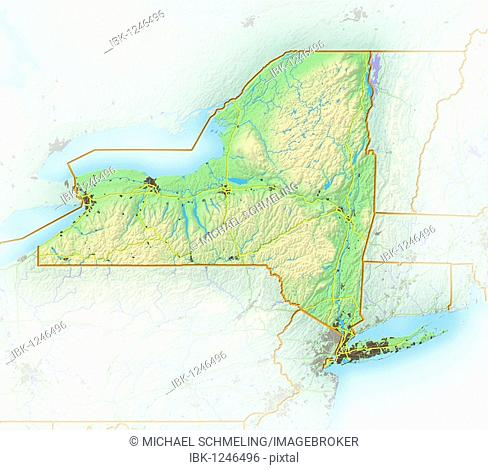 New York, shaded relief map, USA