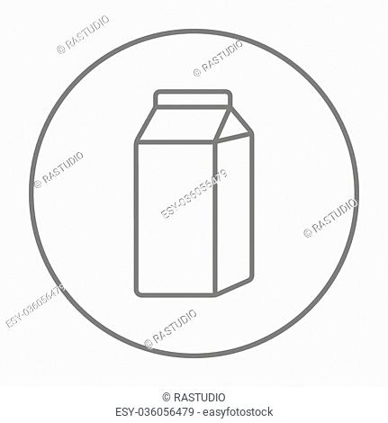 Packaged dairy product line icon for web, mobile and infographics. Vector grey thin line icon in the circle isolated on white background