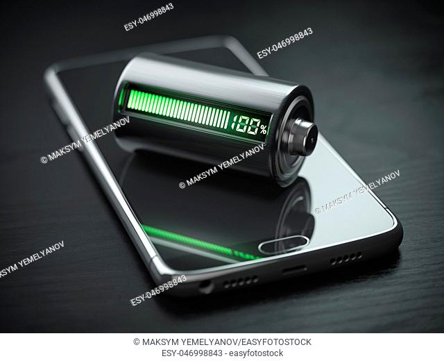 Smartphone charging concept. Mobile phone and battery charge indicator on black wooden table. . 3d illustration