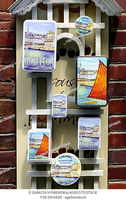 souvenir boxes for sale, Honfleur, Calvados, Normandy, France