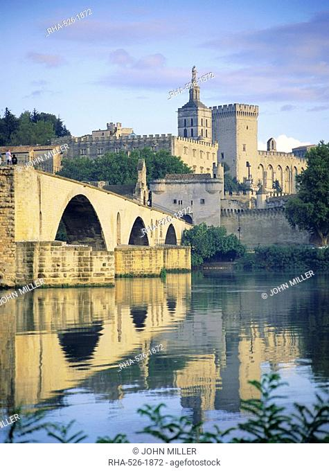 Papal Palace and bridge over the River Rhone, Avignon, Provence, France, Europe