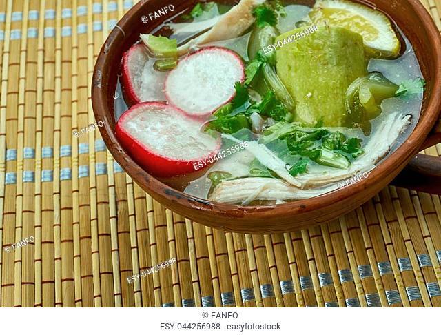 Mexican Pozole Verde de Pollo - Chicken green pozole