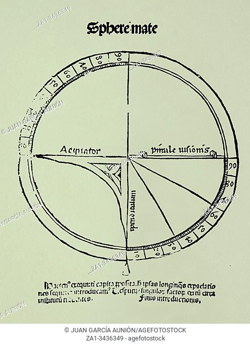 Navigational quadrant. At Introduction to Cosmography by Martin Waldseemuller, 1513. Universidad Complutense, Madrid