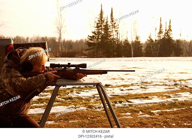 Sighting In Deer Rifle In Preparation For Deer Hunt