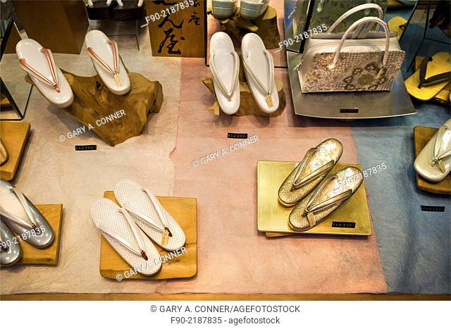 Womans shoes in store window in Ginza, Tokyo, Japan