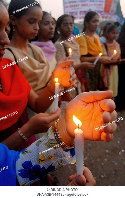 Candle light protest by Diploma of Education (Ded) students at Azad Maidan in Bombay now Mumbai ; Maharashtra ; India