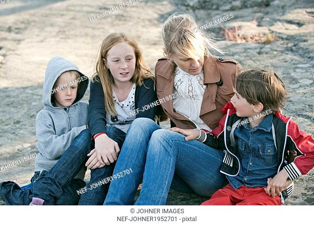 Mother with three children, Nacka, Sweden