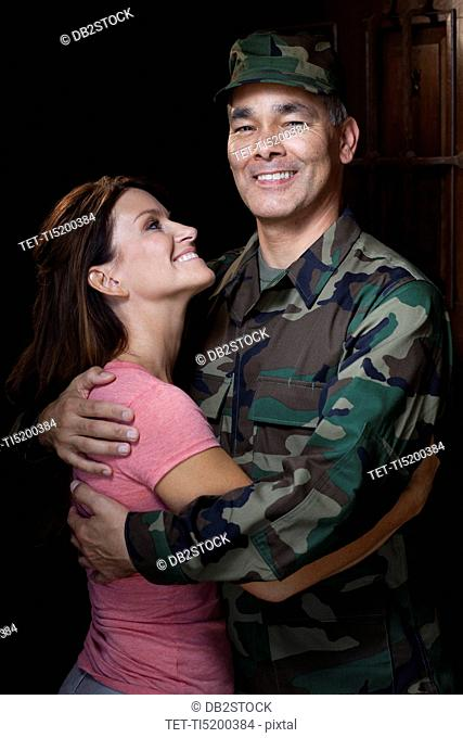 Portrait of soldier with wife