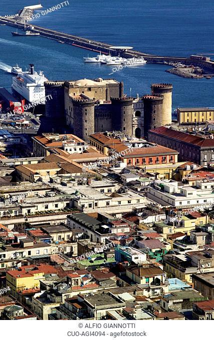 Castel Nuovo and Beverello wharf, Naples, Campania, Italy