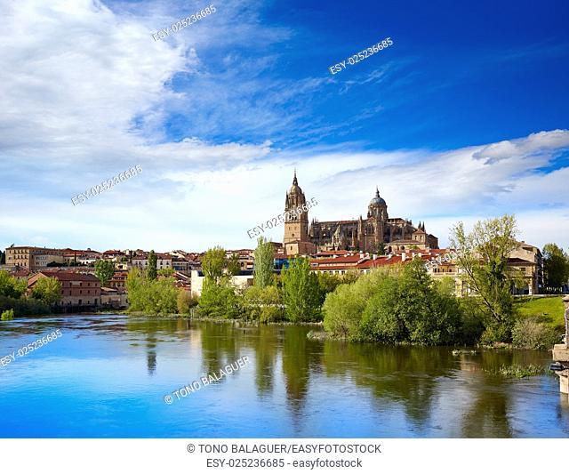 Salamanca skyline with Tormes river in Spain