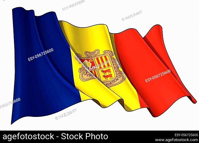 Vector illustration of a Waving Flag of Andorra. All elements neatly on well-defined layers and groups