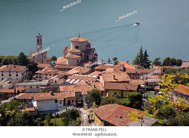 View of Sale Marasino and Lake Iseo, Lombardy, Italian Lakes, Italy, Europe