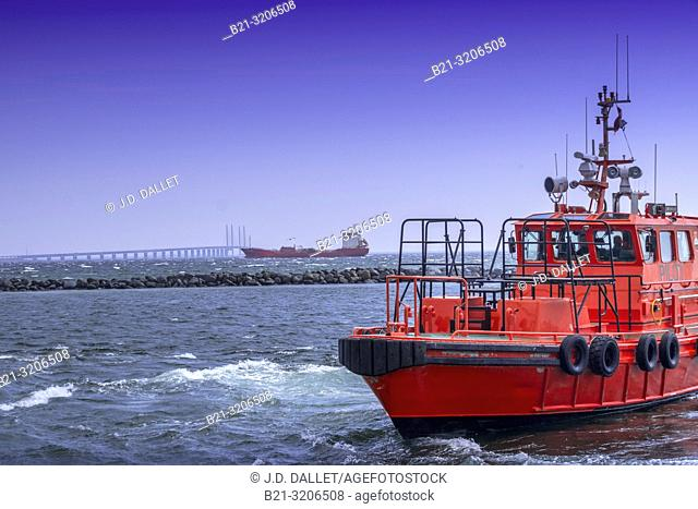 Denmark, view from Dragor harbour on the island of Amager, to the bridge going from Copenhagen to Malmo in Sweden