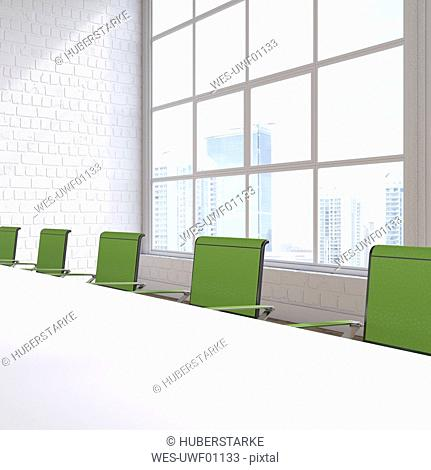 Empty conference room with view at skyscrapers, 3D Rendering