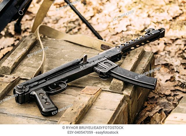 Old Soviet Russian Red Army Submachine Gun PPS-43 Of World War Ii Lying On The Wooden Box