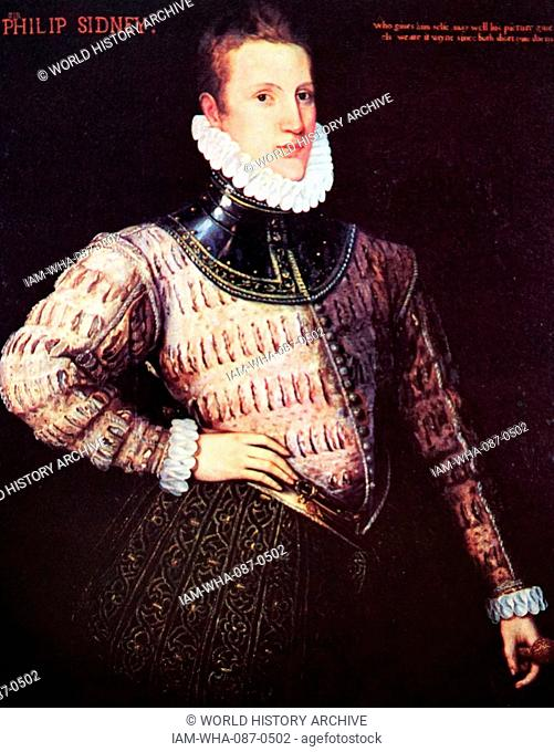 Portrait of Philip Sidney (1554-1586) an English poet, courtier, scholar, and soldier. Dated 16th Century