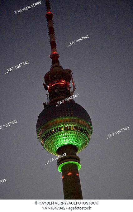 Tv Tower Berlin Germany at Night