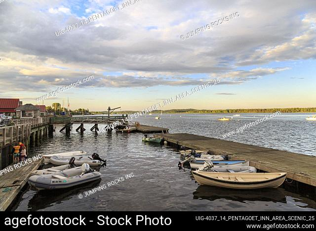 Harbor with boats and dock in summer, Castine, Maine, New England, USA