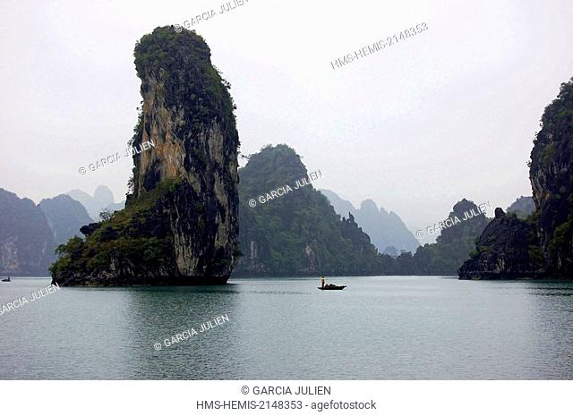 Vietnam, Ha Long Bay listed as World Heritage by UNESCO, small fishing boat