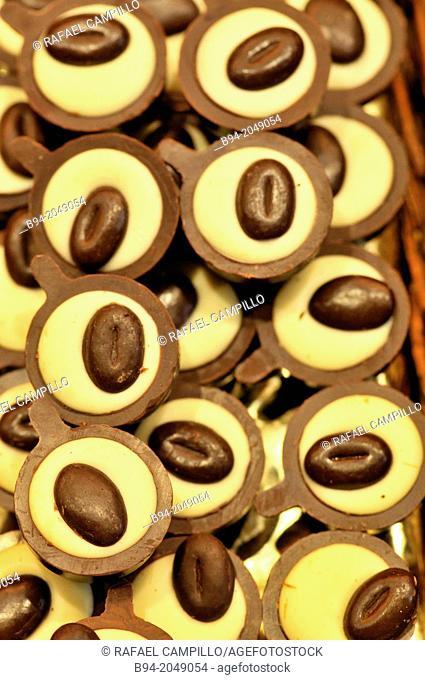 Chocolates. Sant Josep or Boqueria market. Barcelona. Catalonia. Spain