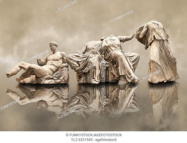 Figures from the East Pediment of the Parthenon, Acropolis Athens. From left to right cat no D Dionysos , middle E & F Demeter & Persephone, left G Hebe