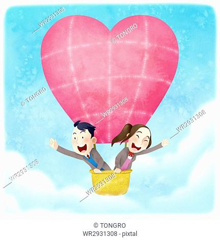 Smiling school boy and girl flying in an air-hot balloon